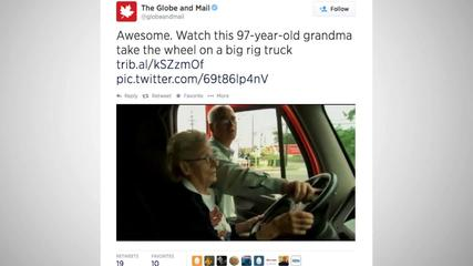News video: 97-Year-Old Fulfills Lifelong Dream Of Driving A Big-Rig Truck